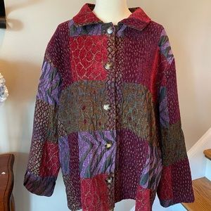 Coldwater Creek Purple and Red Brocade Jacket M/L